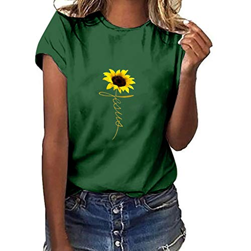 (Womens T-Shirt,Plus Size Sunflower Printed Womens Casual Short Sleeve Tees Summer Loose Blouse Tops Classic Basic T Shirts Green)