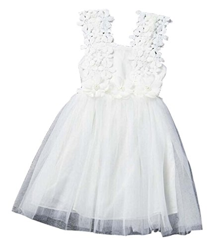 Baby Girls Sleeveless Lace Wedding Vintage Birthday Party Princess Flower Dress 4T(Tag 130) White -