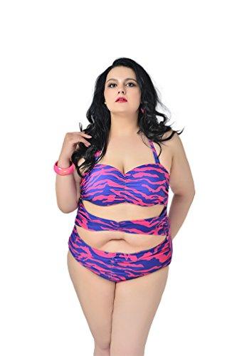 MissFox Mujeres Trajes De Baño Más El Tamaño Una Pieza Bikini Monokini Ropa De Playa Raya