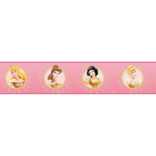 Blue Mountain Wallcoverings DS026431 Princess Enchanted Self-Stick Wall Border, 5-Inch by 15-Foot