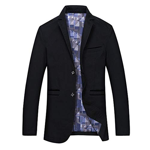 GWELL Herren Blazer Freizeit Sakko Casual Anzugjacke Business Regular Fit Schwarz Gr.S-5XL