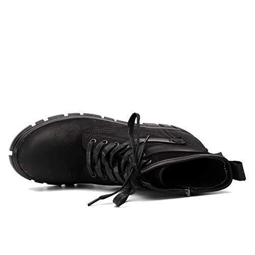 Femme Lacets Nubuck à Vintage Cuir éclair Bottines Western Chaussures pour Fermeture Plateforme Bas à Noir Bottes en Talon à Martin 8xSwnqCf
