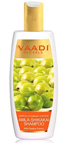 Vaadi Herbal Organic Amla Shikakai Reetha Shampoo Anti-Dandruff - For Hair Loss Dry Itchy Sensitive Scalp Moisturizing Treatment - Hair Growth and Thickening - Sulphate Free Paraben Free - 1 X 350 Ml ()