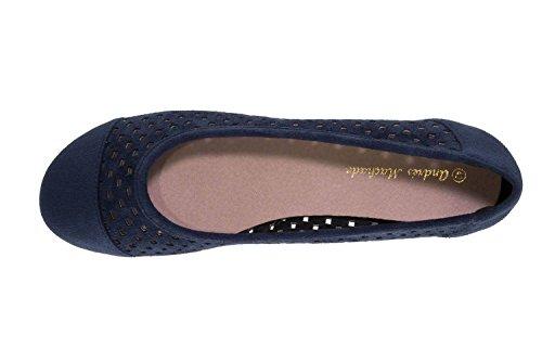Andres Machado Women's Ballet Flats Blue Picado Marino W6ojSzR5NJ