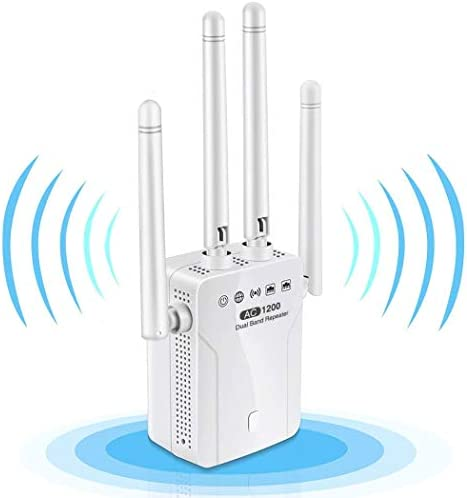 WiFi Extender,1200Mbps WiFi Booster Dual Band 2.4G & 5G Signal Expander,WiFi Signal Booster Repeater Amplifier 360°Full Coverage,Extend WiFi Signal for Smart Home Alexa Devices[Easy Set] (White)