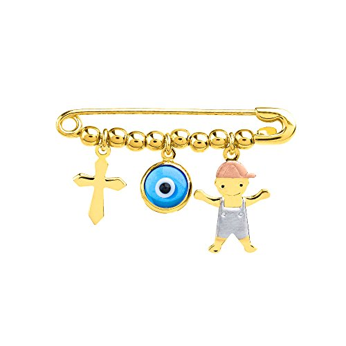 (Solid 14k Tri Color Gold Boy Charm with Blue Eye and Religious Cross Safety Pin Brooch)