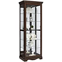 Pulaski P021574 Harley Oval Etched Sliding Front Door Curio, 29.5 x 19.5 x 79.75, Brown