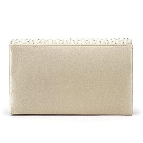 Bolayu Ladies Party Beige Diamante Handbag Sexy Clutch Envelope Bag Prom Shoulder Evening Bags Satin 5r05qOI