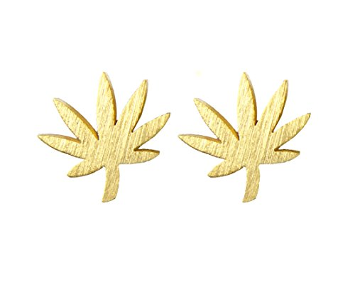 Altitude Boutique Marijuana Leaf Earrings, Cannabis Jewelry, Weed Stud Earrings (Gold)