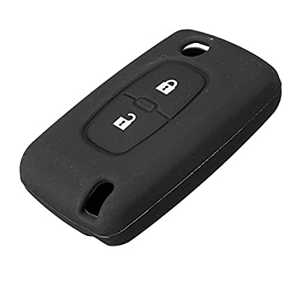 Audew 2 Botón carcasa mando Funda de silicona caso cubierta de llavero Para Peugeot 206 207 307 308-negro