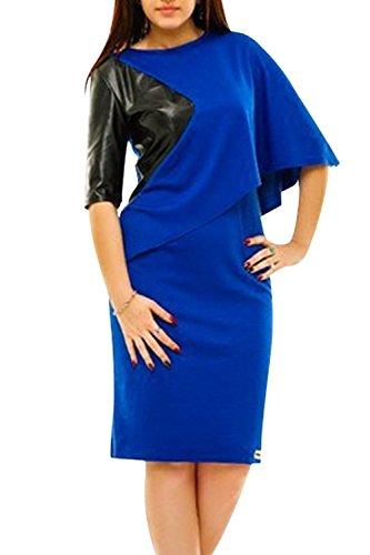 YACUN Damen Plus Size Bleistift Midi Büro party Kleid Blue VuWQmALa ...
