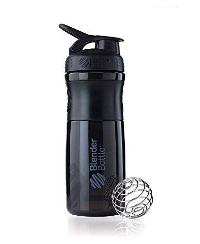 BlenderBottle SportMixer Tritan Grip Shaker Bottle, Black/Black, 28-Ounce