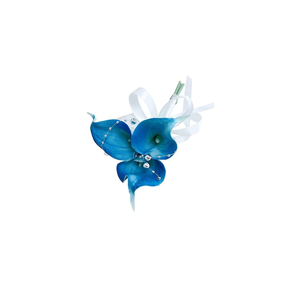 Angel Isabella Real Touch Calla Lily Wand/Clutch Bouquet-Malibu Bright Turquoise Blue Calla Lily Silver Beads Decorations. Flower Color can be Customized