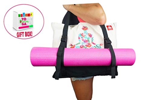 LUCKAYA Large Yoga Mat Tote Bag| Adjustable Straps| Many Compartments | Easy to Carry for Yogis in a Gift Box (Black)