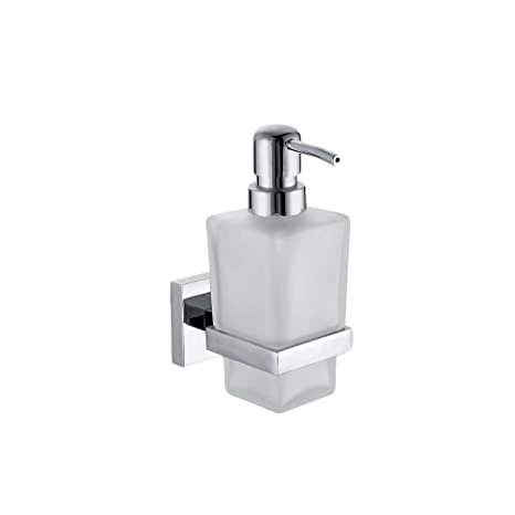 Wall Mounted Soap Dispensor In Frosted Glass With Polished Chrome