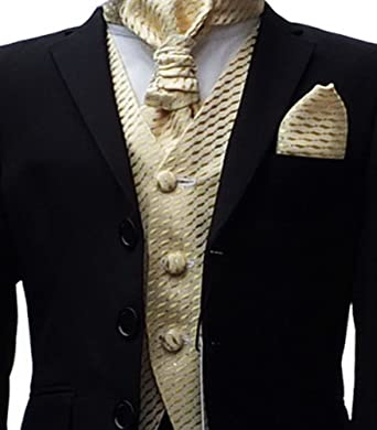 BOYS BLACK & GOLD WEDDING CRAVAT SUIT PAGEBOY PROM SUIT: Amazon.co ...
