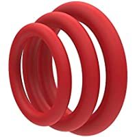 Super Soft Red Cock Ring Erection Enhancing 3 Pack by Lynk Pleasure Products, 100% Medical Grade Pure Silicone Penis Ring Set for Extra Stimulation for Him - Bigger, Harder, Longer Penis