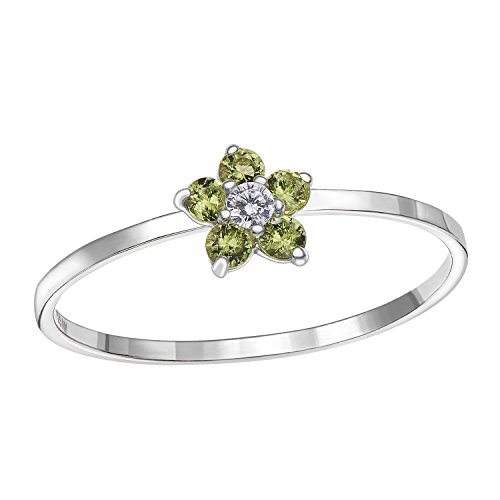 Sterling Silver Flower Ring with Simulated Birthstone & CZ for Girls (6, August) (Flower August Birthstone)