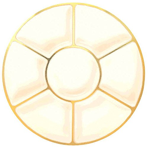 amscan Round Plastic Party Compartment Tray, Cream/Gold, 16'', 12 Ct.