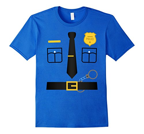 Mens Police Uniform Costume Halloween T-Shirt - Kids to Adult Large Royal (Fashion Police Halloween Costume E)