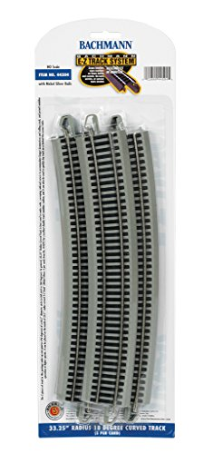 Bachmann Trains Snap-Fit E-Z Track 33.25 Radius 18 Degree Curved Track (5/card)
