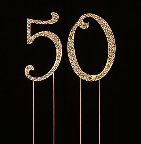 Numbrer 50 for 50th Birthday or Anniversary Cake Topper Party Decoration Supplies, Gold, 2.75 Inches Tall