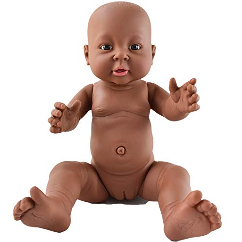HiPlay African American Baby Doll, Lifelike Silicone Vinyl Naked Boys/Girls, Newborn Baby Dolls for Kids Toys/Nursing Practice/Teaching/Photography - Size & Gender Selectable (16