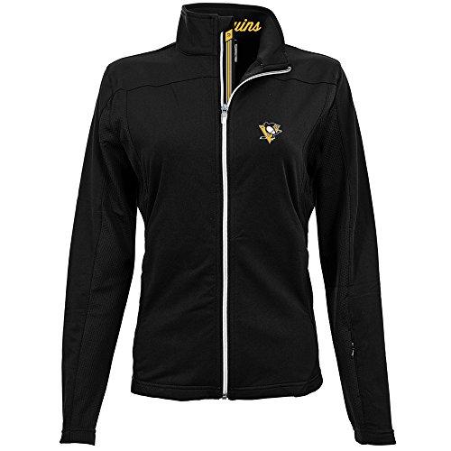 Levelwear LEY9R NHL Pittsburgh Penguins Women's Aurora Insignia Banner Stripe Full Zip Mid-Layer Apparel, Large, Black