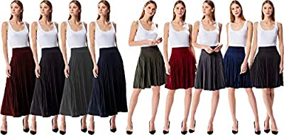 MoDDeals Women's Skirt Pleated Flared Knee Length Long Mini Or Short Midi and Maxi for Office Casual Or Dressy Party