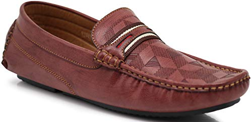 RV1 Men's Light Weight Casual Monogram Cruise Venetian Classic Driving Moccasin Penny Loafer Driver Shoes (10 D(M) US, (Perforated Monogram)