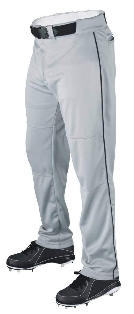 Wilson Youth Classic Relaxed Fit Piped Baseball Pant, Grey/Black, Medium by Wilson