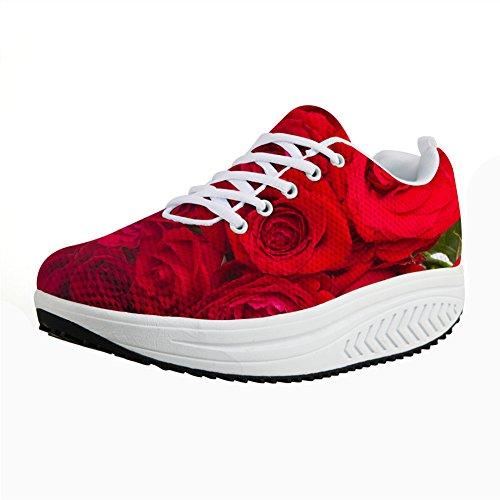 For U Design Vintage Floral Rose Print Fitness Walking Sneaker Uformelle Kvinners Kiler Platåsko Røde Rose