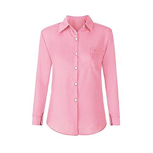 Camicetta Shirt Donna Tendenza Signore Donna Pocket e Casual Parti Superiori da Casual in Bavero Rosa Allentato da Chiffon Bluse JiaMeng Taschino da T OL Camicie Camicia gU6Ufxq