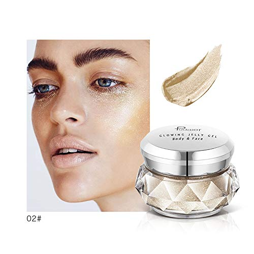 (Jonerytime8 Colors Jelly Gel Highlighter Make Up Concealer Shimmer Face Glow Eyeshadow Highlighter Cream (B))