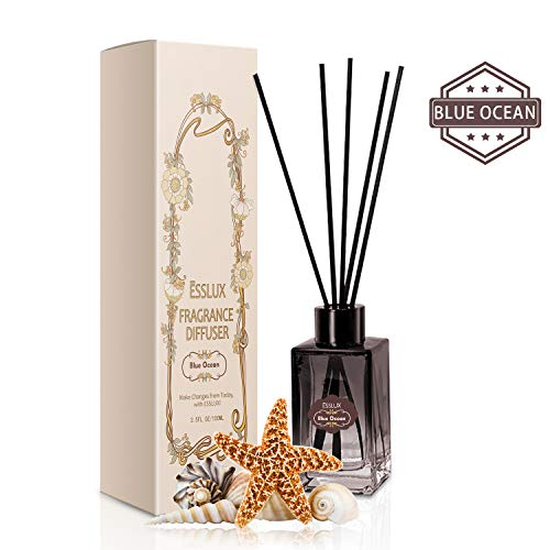 Home Fragrance Diffuser Set - ESSLUX Home Fragrance, Reed Diffuser Set Premium Quality for Home and Office, Air Freshener & Home Decor & Ideal Gift-Blue Ocean