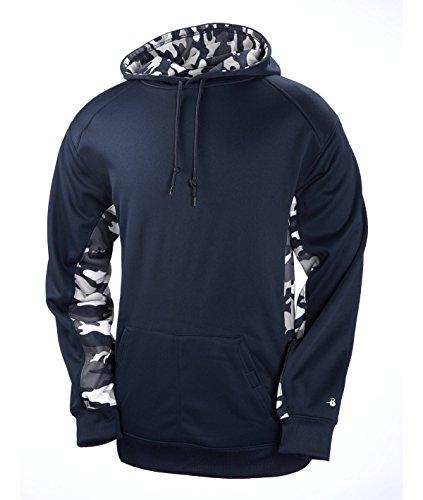 (Badger BG1469 Men's Adult Camo Color Block Hooded Fleece Navy S )
