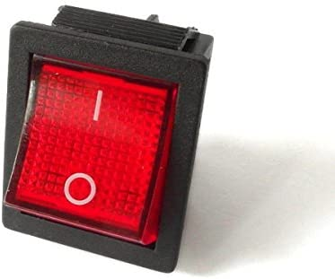 5x Umschalter 2polig ; I-0-II ; 250V 16A 31x26mm LED Rot ; Wippschalter