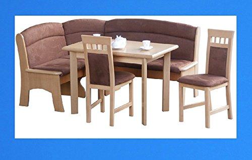 3-3-2-2035: schöne Eckbankgruppe - Buche natur teilmassiv - mit ausziehbaren Tisch und 2 Stühlen