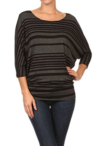 ReneeC. Women's Striped 3/4 Dolman Sleeve Scoop Neck Blouse T Shirts Top Knit (Small, Grey&Black)