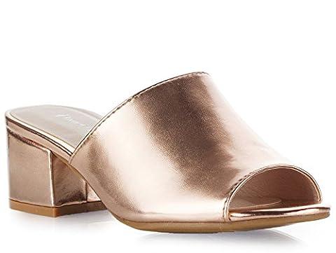 ROF Women's Slip On Open Toe Mule Slip On Blocked Heel Sandals ROSE GOLD (7.5)