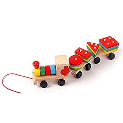 iPuzzle Wooden Geometric Stacking Train Set Along Pull Rope for Kids Toddlers by iPuzzle that we recomend personally.