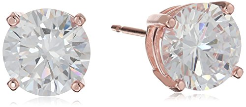 Amazon Essentials Rose Gold Plated Sterling Silver Round Cut Cubic Zirconia Stud Earrings (8mm)