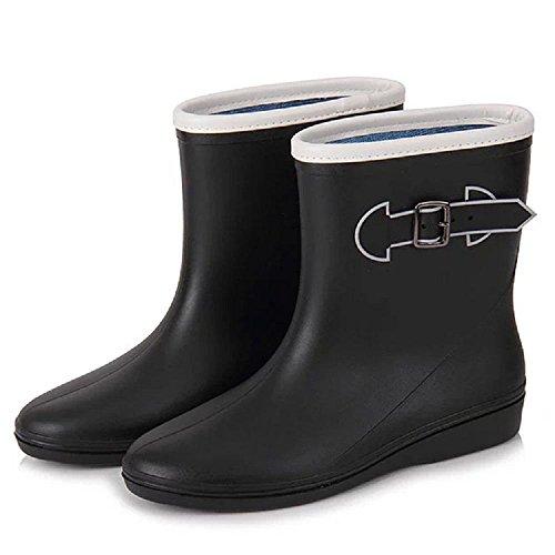 anti Fashion boots buckle side Black rain slip fUZUwd