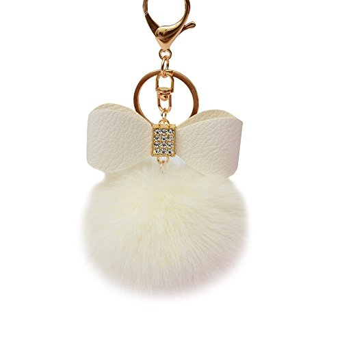 Mini Rabbit Mobile Phone - ✿Nation Fluffy Faux Rabbit Fur Ball Bowknot Charm Car Handbag Keychain (White)