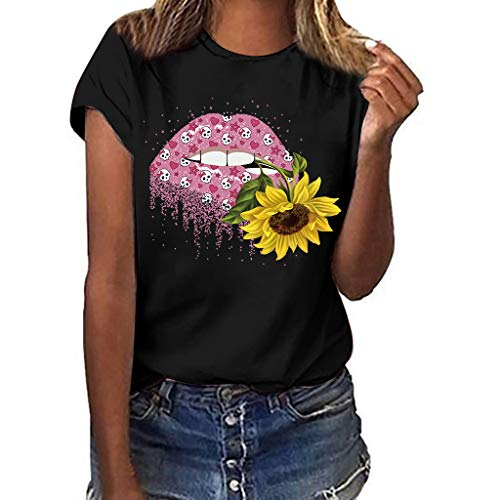 (Women's Plus Size Printed Short-Sleeve T-Shirt,Summer Casual Cap Sleeve Lips Sunflower and Skull Print Cute T-Shirt Blouse Tops (Black, S))