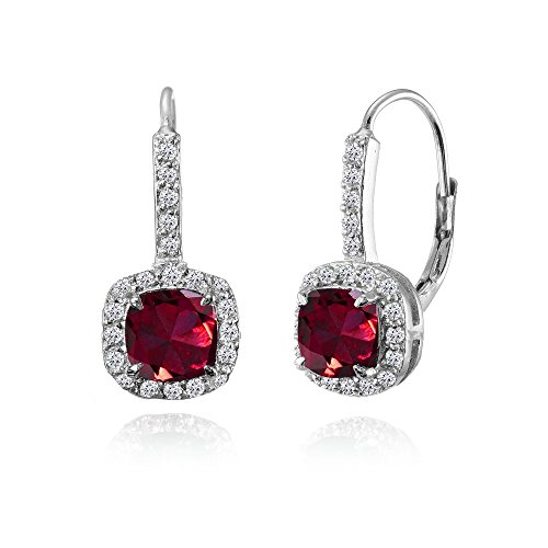 Sterling Silver Created Ruby & White Topaz Cushion-cut Leverback Earrings