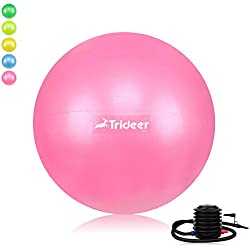 Trideer Exercise Ball (Multiple Sizes), Yoga Ball, Birthing Ball with Quick Pump, Anti-Burst & Extra Thick, Heavy Duty Ball Chair, Stability Ball Supports 2200lbs (Office&Home) (Soft Pink, 45cm)