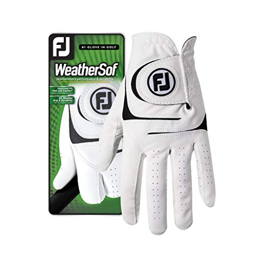 FootJoy Men's WeatherSof Golf Glove White Large, Worn on Right Hand