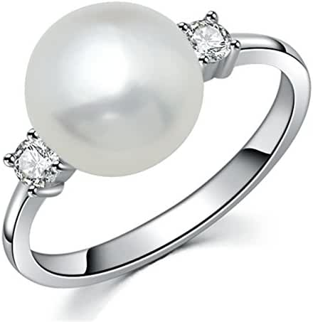 YAN & LEI Sterling Silver CZ 8mm Freshwater Cultured Pearl Solitaire Ring Color Silver