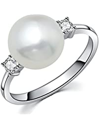 Sterling Silver CZ 8mm Freshwater Cultured Pearl Solitaire Ring Color Silver